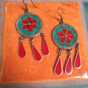 Jewelry - Vtg Sterling Silver Turquoise Coral Drop Earrings